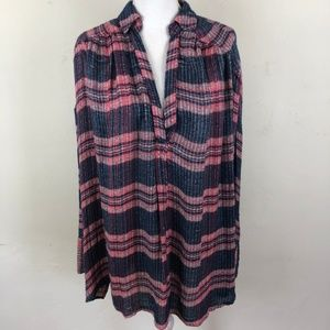 Free People Plaid Loose Weave Oversized Tunic Top